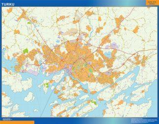 Mapa de Turku en Finlandia plastificado gigante