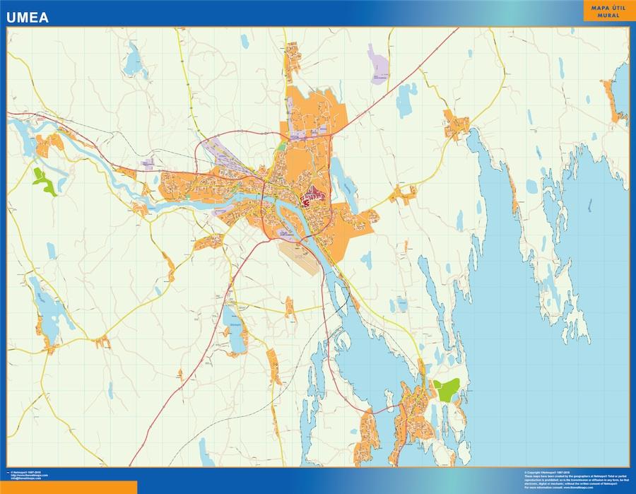 Mapa de Umea en Suecia plastificado gigante
