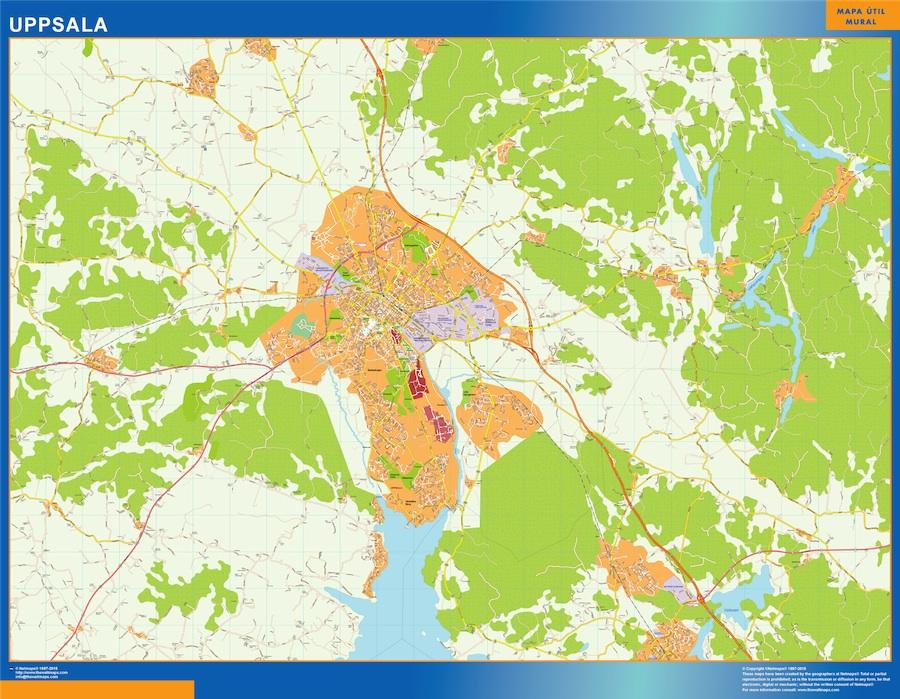 Mapa de Uppsala en Suecia plastificado gigante