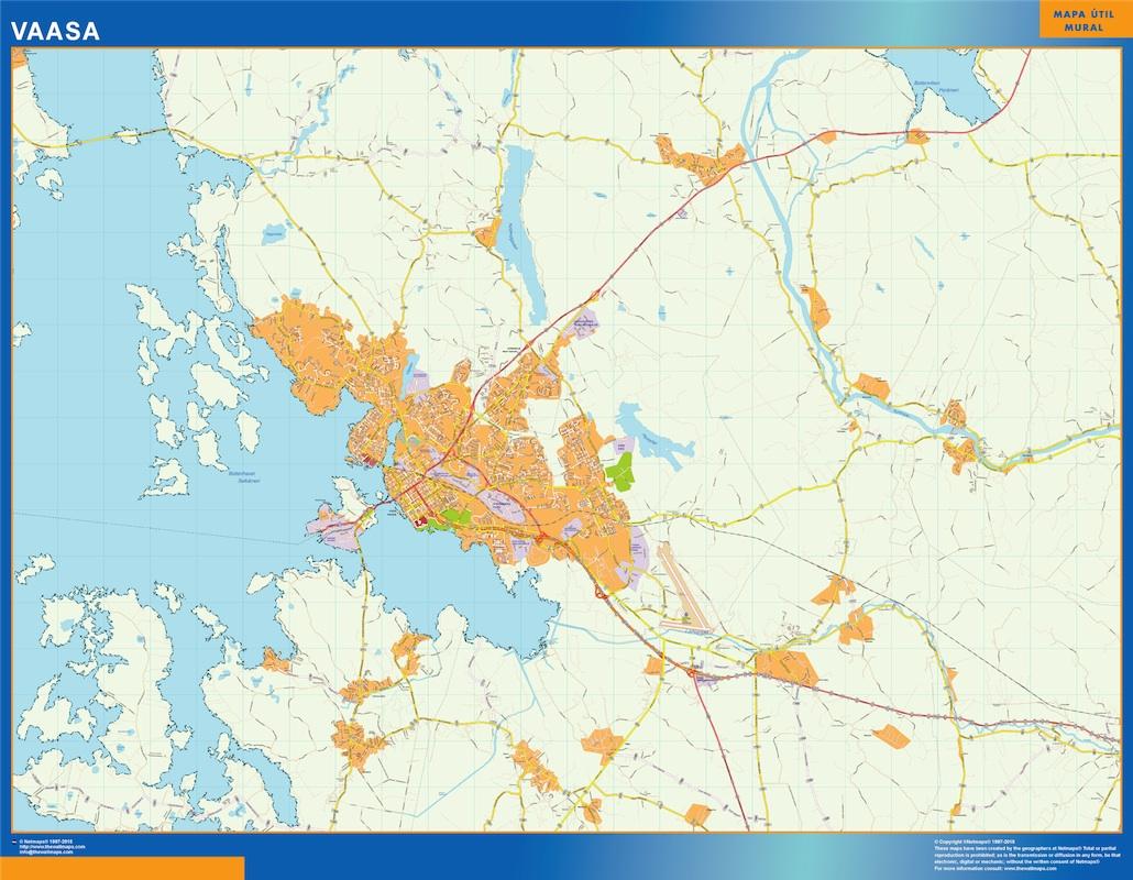 Mapa de Vaasa en Finlandia plastificado gigante