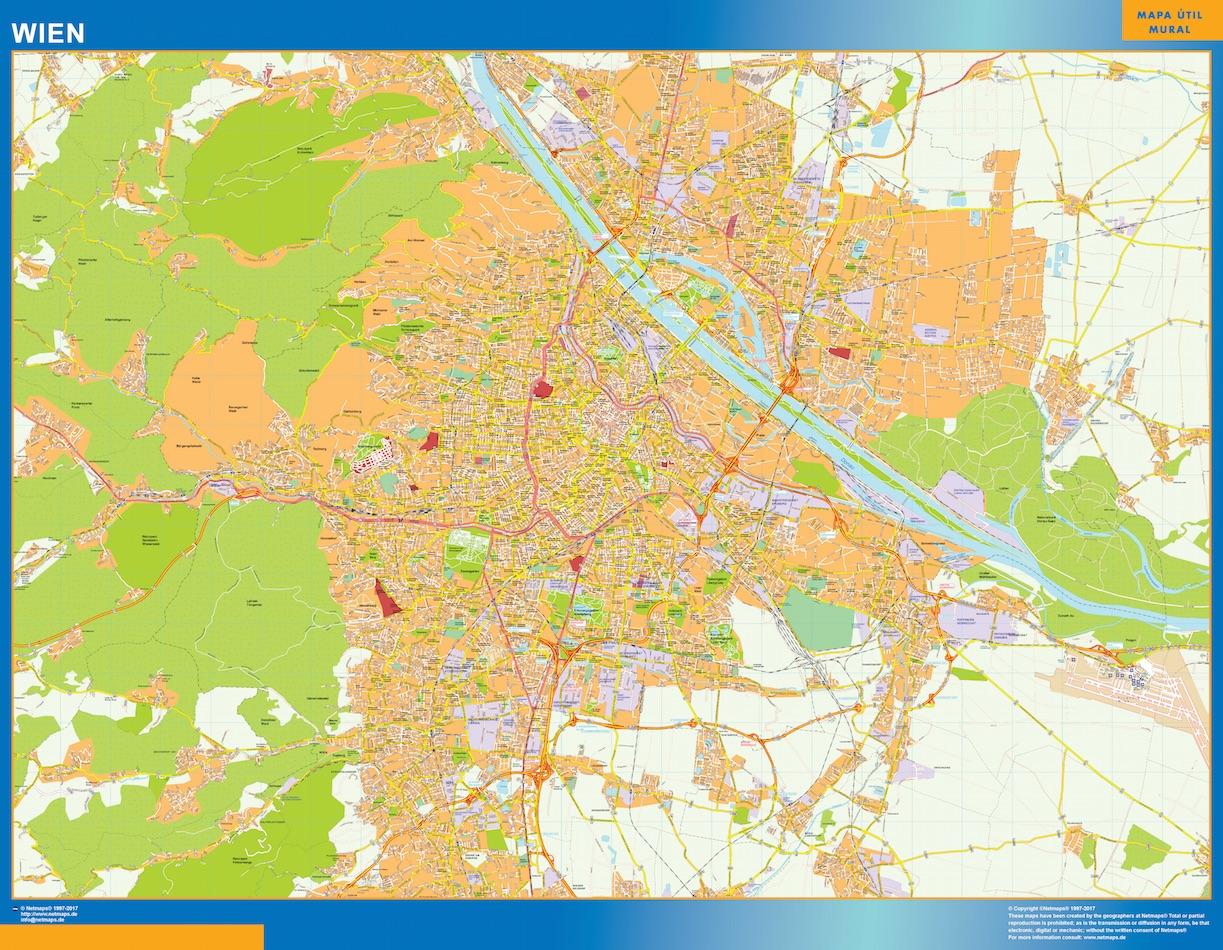 Mapa de Viena en Austria plastificado gigante