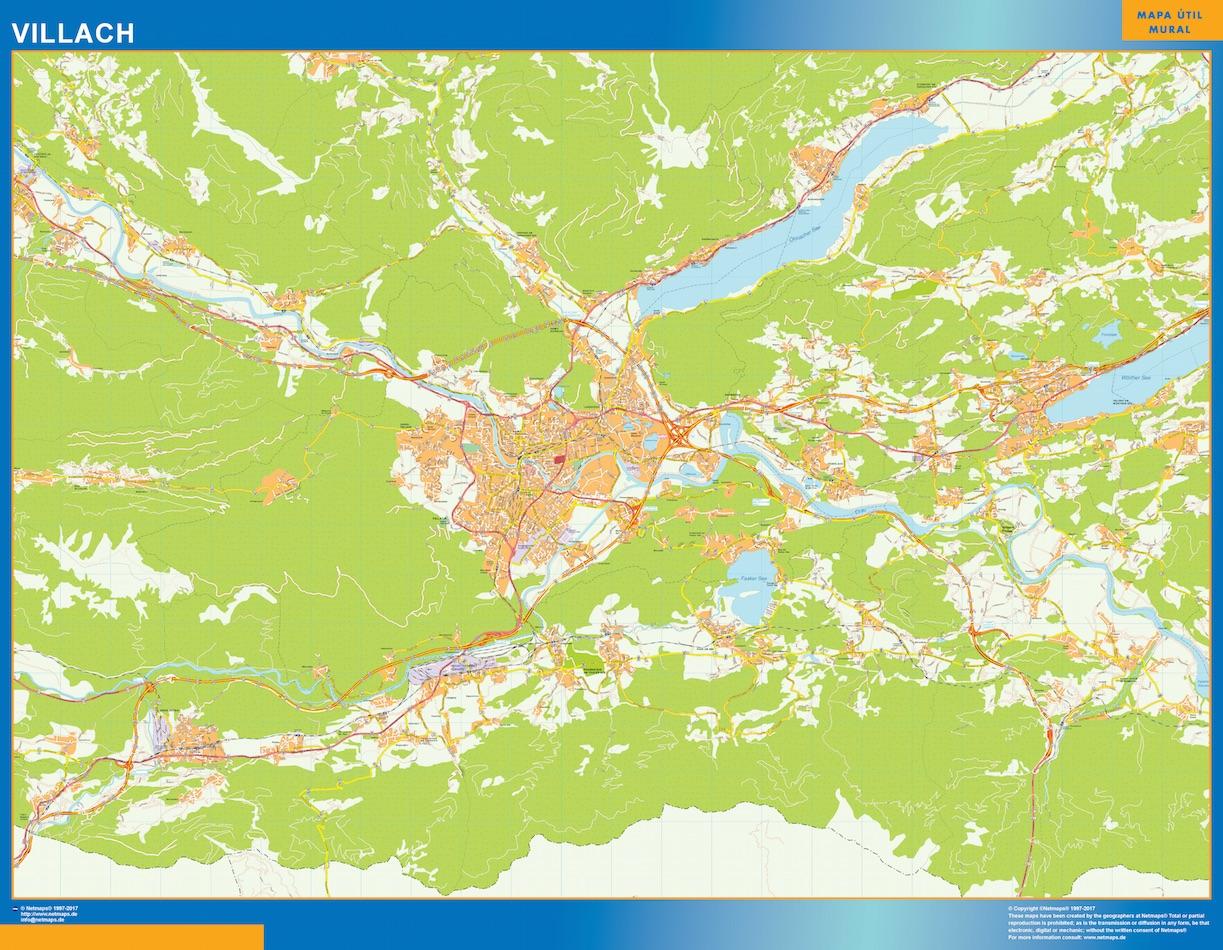 Mapa de Villach en Austria plastificado gigante