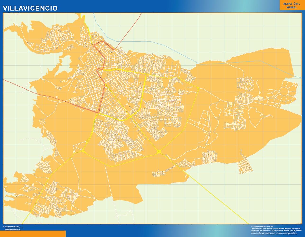 Mapa de Villavicencio en Colombia plastificado gigante
