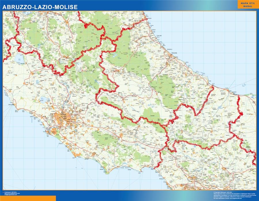 Mapa región Abruzzo plastificado gigante