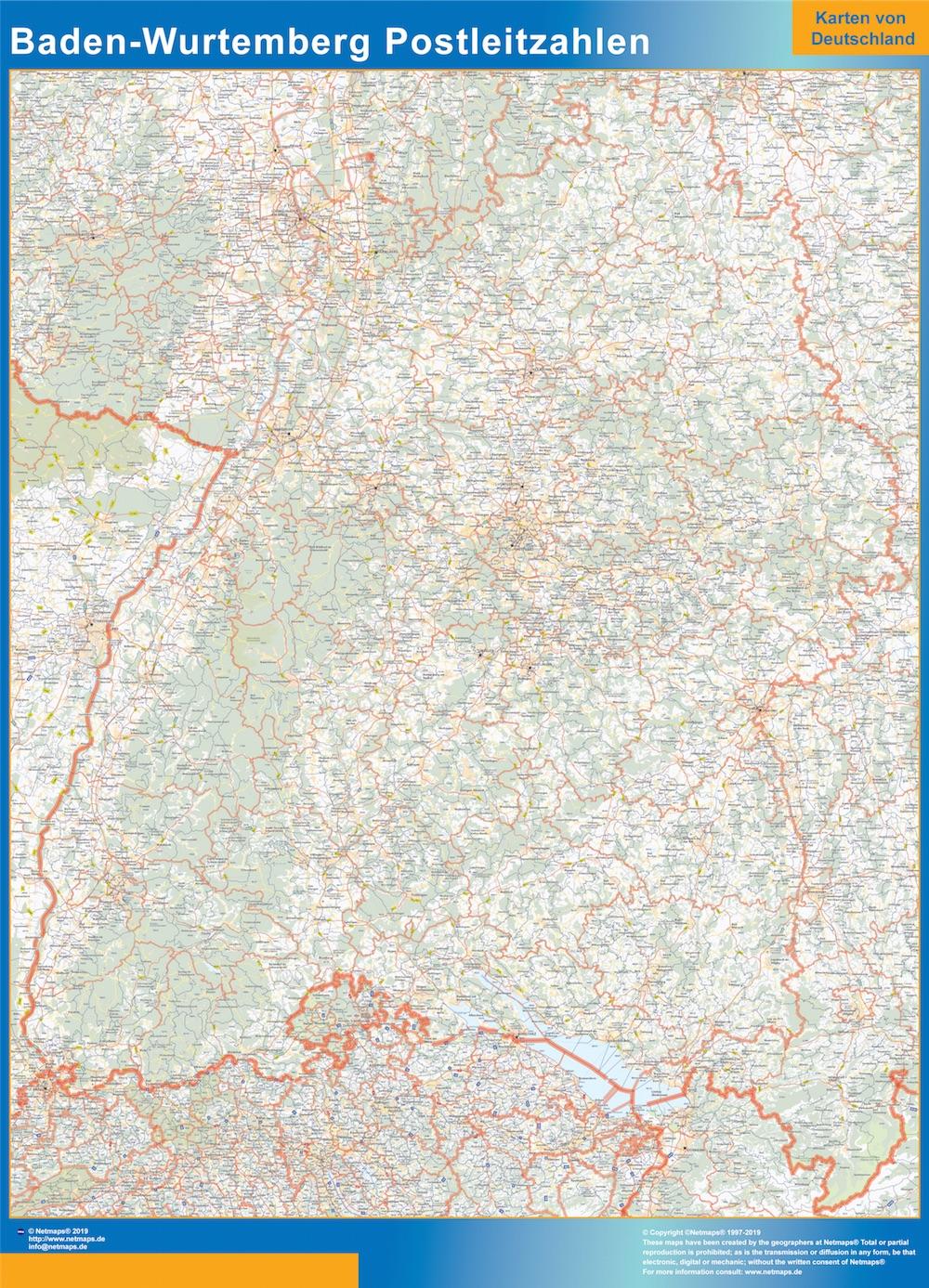 Mapa región Baden-Wurtemberg codigos postales plastificado gigante