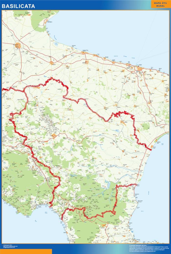 Mapa región Basilicata plastificado gigante