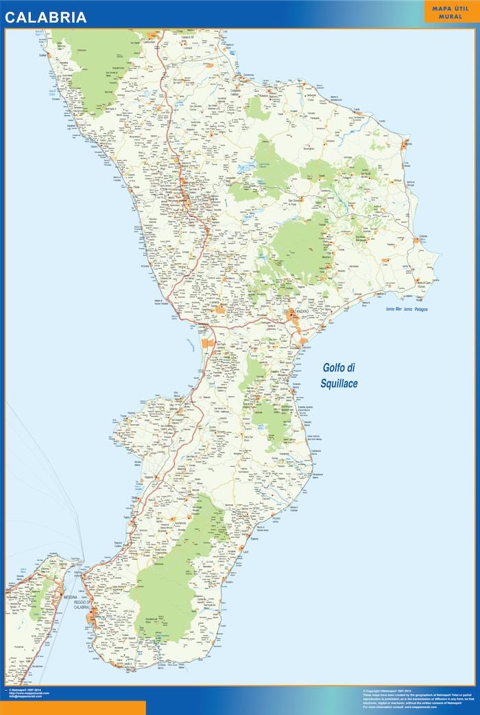 Mapa región Calabria plastificado gigante