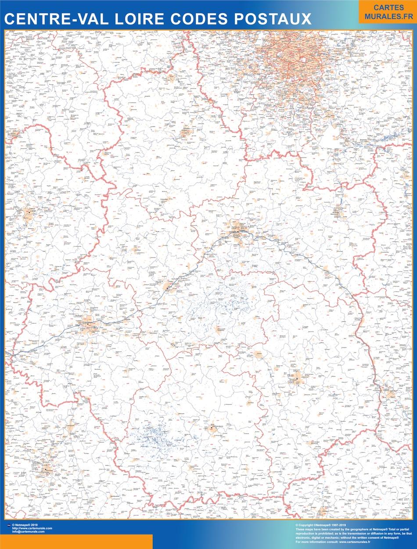 Mapa región Centre Val Loire postal plastificado gigante