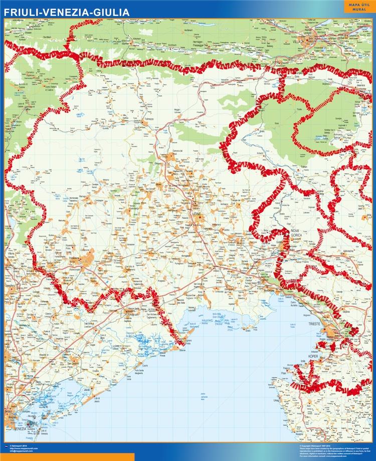 Mapa región Friuli Venezia Giulia plastificado gigante