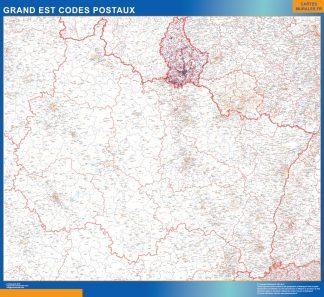 Mapa región Grand Est postal plastificado gigante