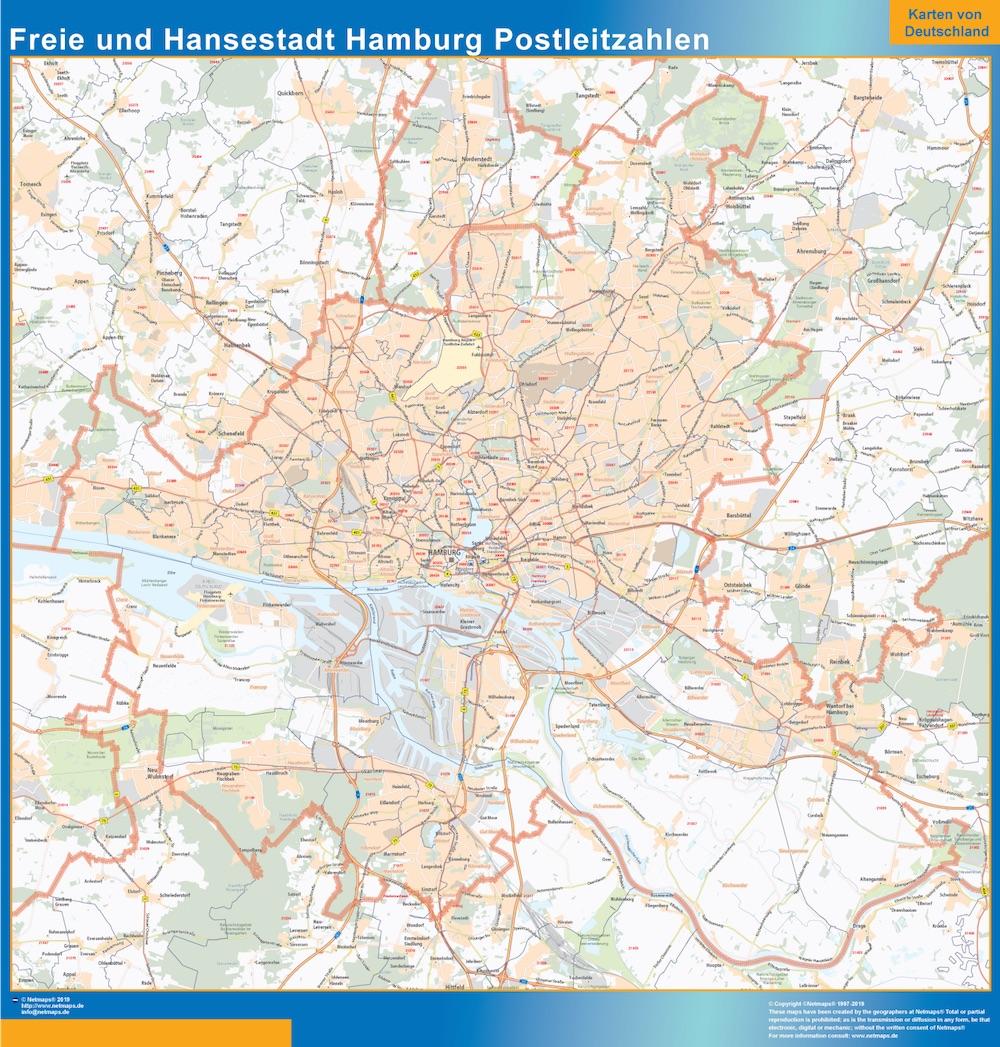 Mapa región Hamburgo codigos postales plastificado gigante