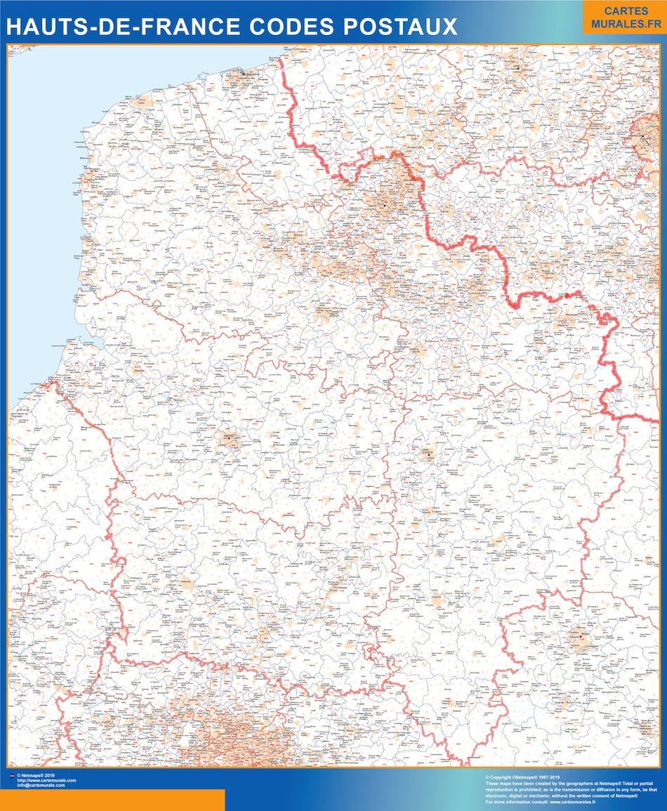 Mapa región Hauts de France postal plastificado gigante