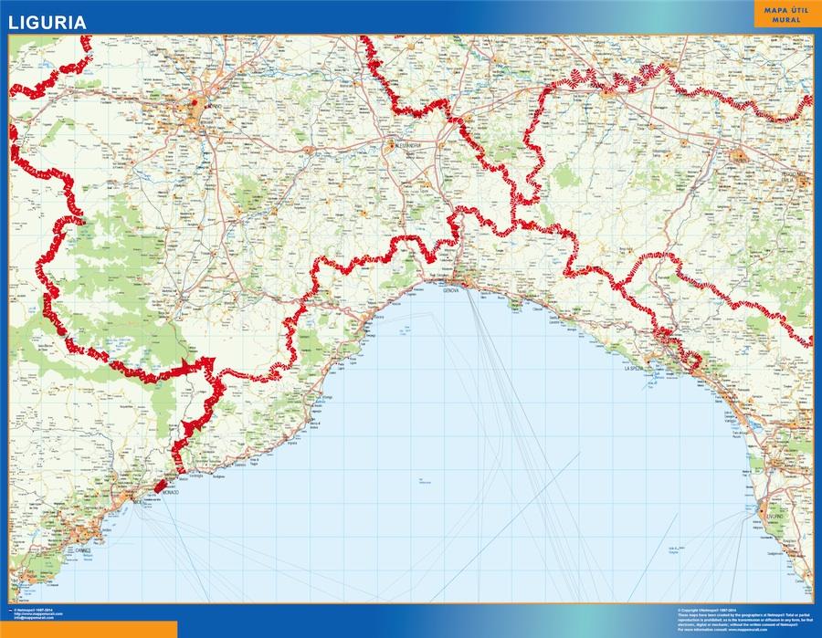 Mapa región Liguria plastificado gigante