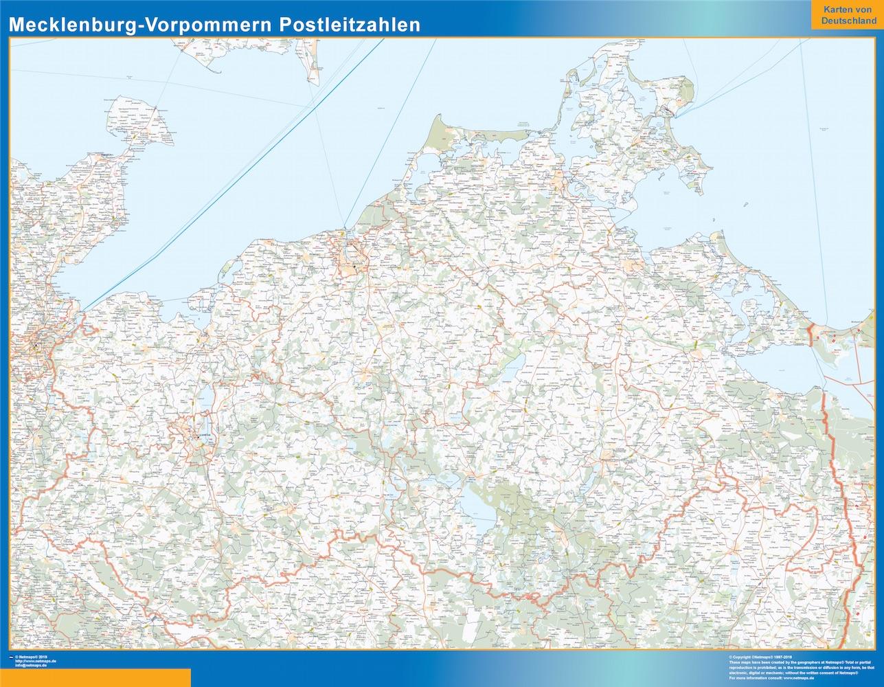 Mapa región Mecklenburg-Vorpommern codigos postales plastificado gigante