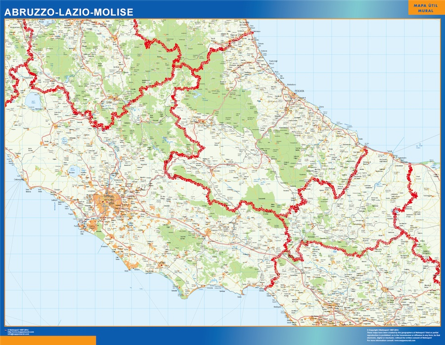 Mapa región Molise plastificado gigante