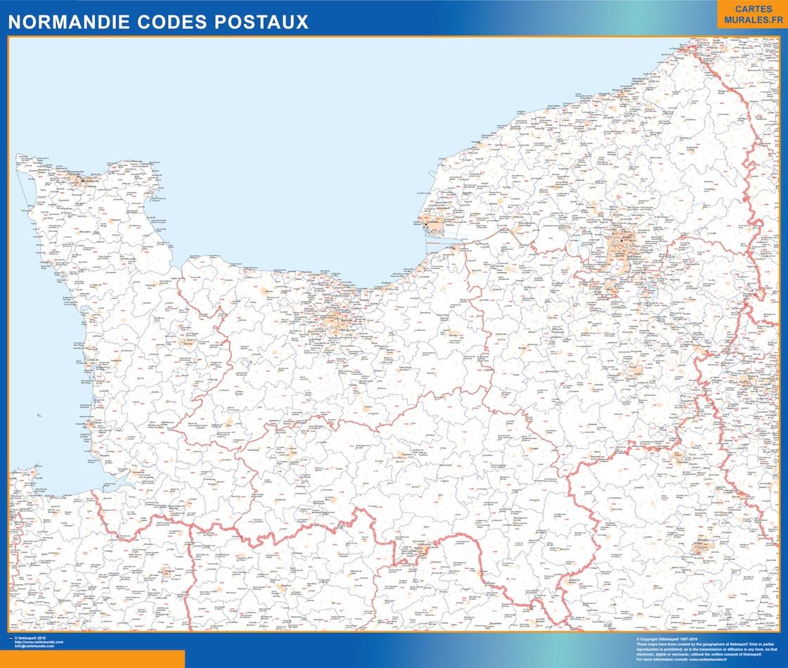 Mapa región Normandie postal plastificado gigante
