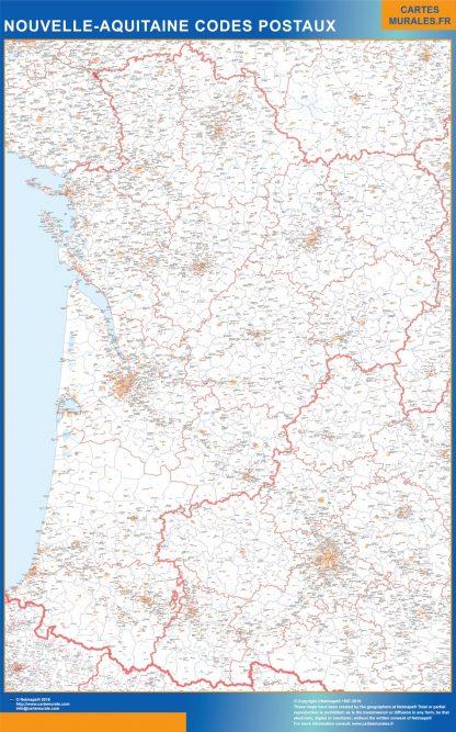 Mapa región Nouvelle Aquitaine postal plastificado gigante