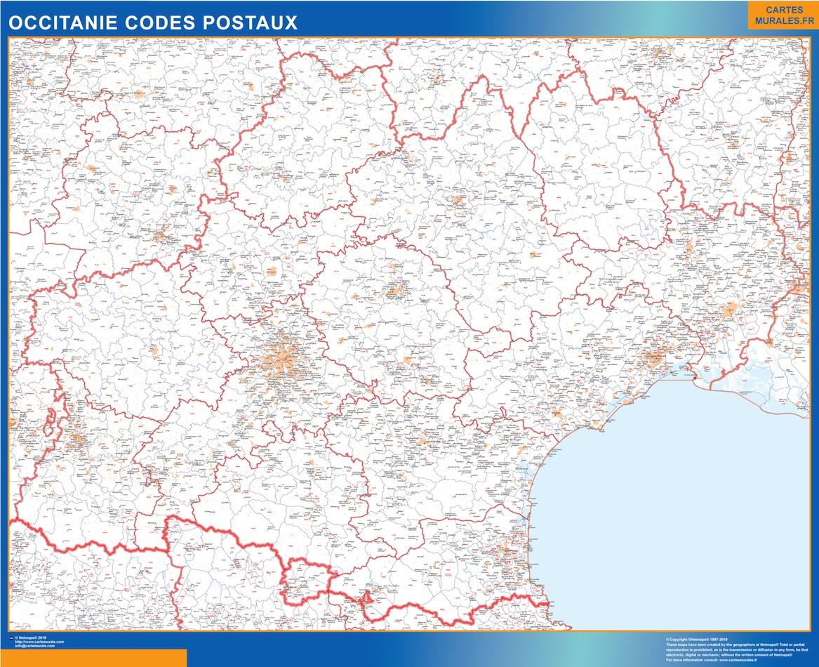 Mapa región OccitanIe postal plastificado gigante