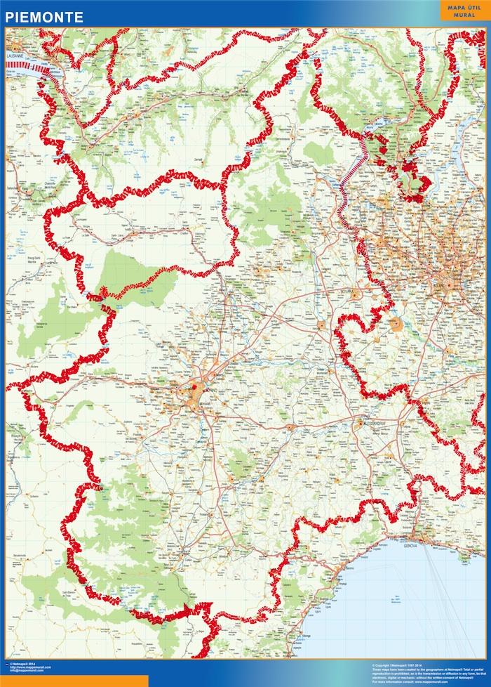 Mapa región Piemonte plastificado plastificado gigante