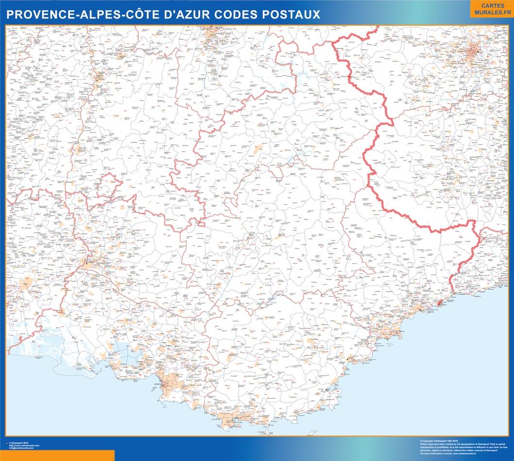 Mapa región Provence-alpes cote azur postal plastificado gigante