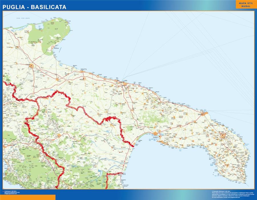 Mapa región Puglia plastificado gigante