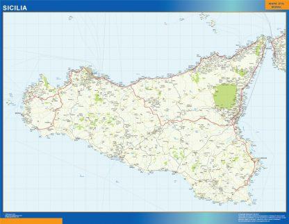 Mapa región Sicilia plastificado gigante