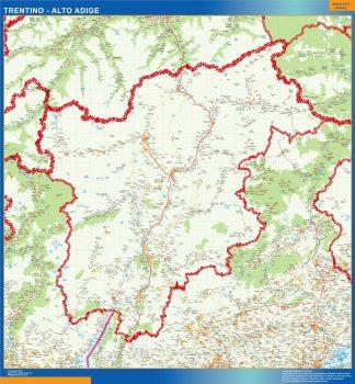 Mapa región Trentino Alto Adige plastificado gigante