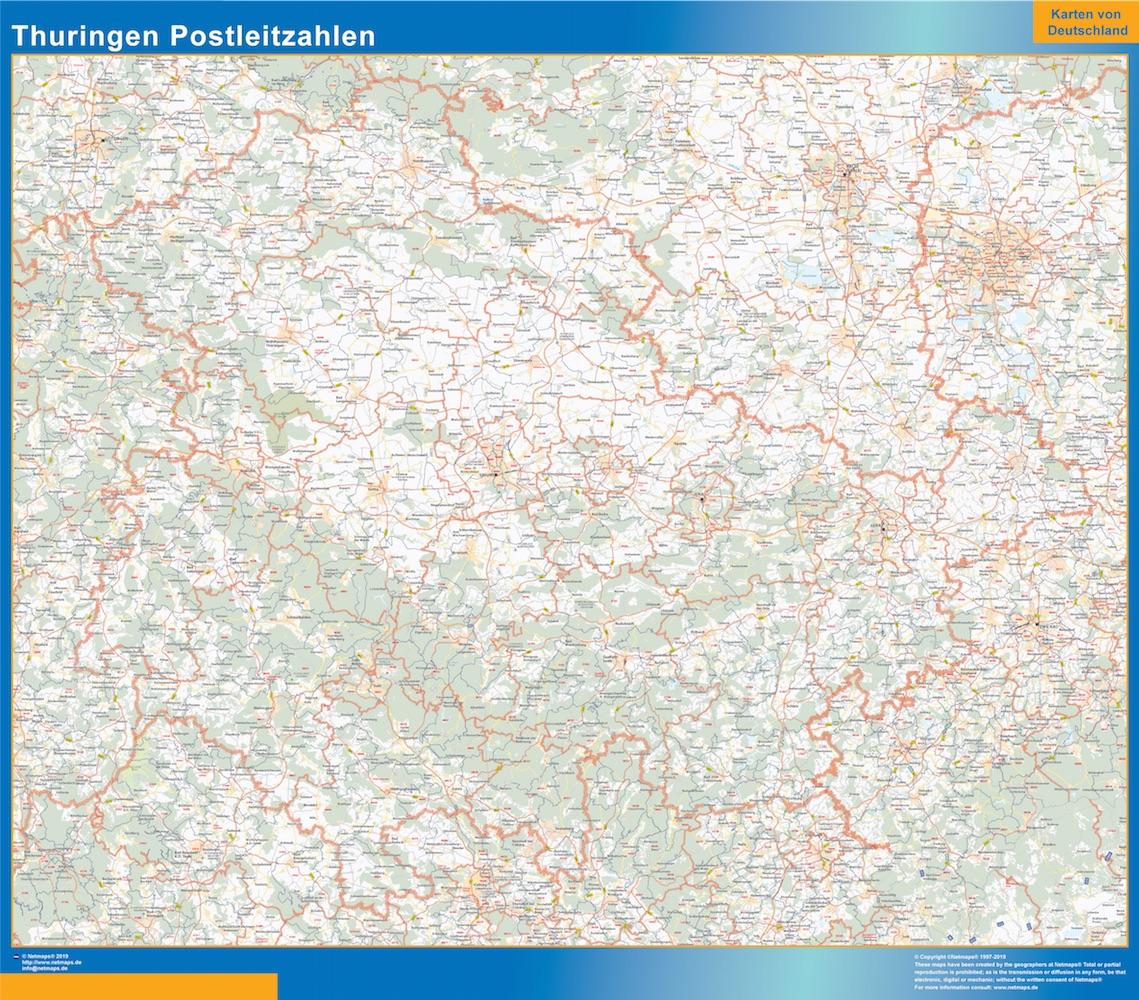Mapa región Turingia codigos postales plastificado gigante