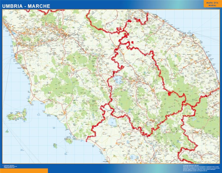 Mapa región Umbria plastificado gigante