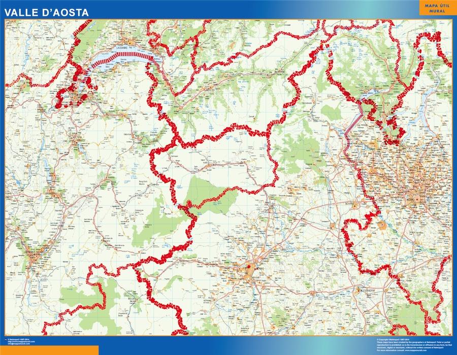 Mapa región Valle Aosta plastificado gigante