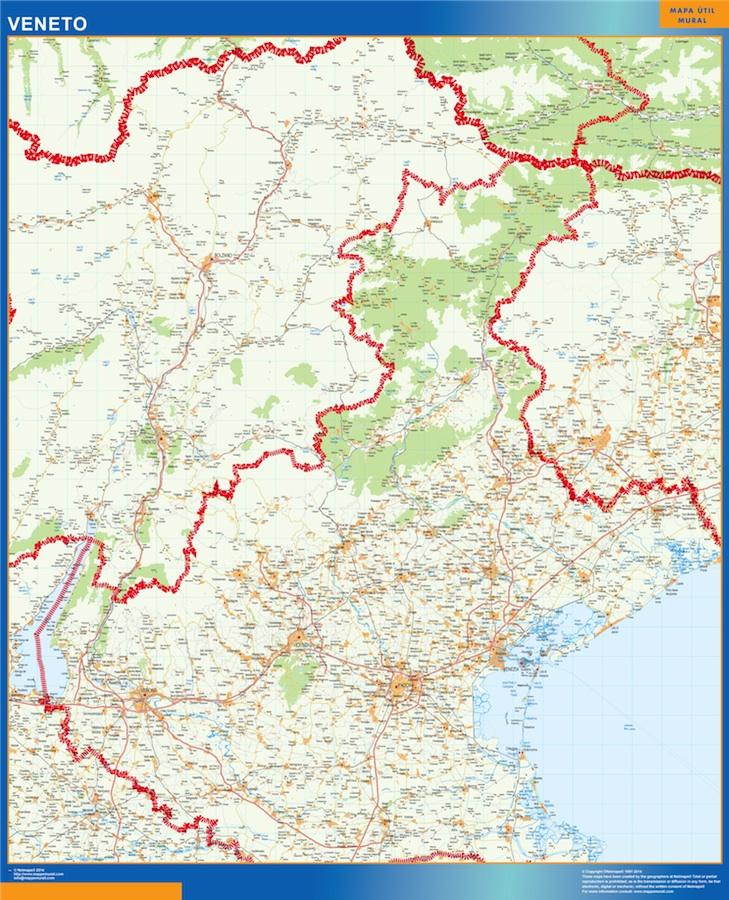 Mapa región Veneto plastificado gigante