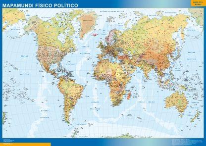 Mapamundi Fisico Politico plastificado gigante