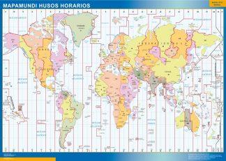 Mapamundi Husos Horarios plastificado gigante