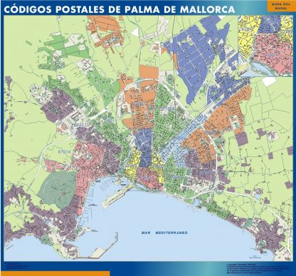 Palma de Mallorca códigos postales plastificado gigante