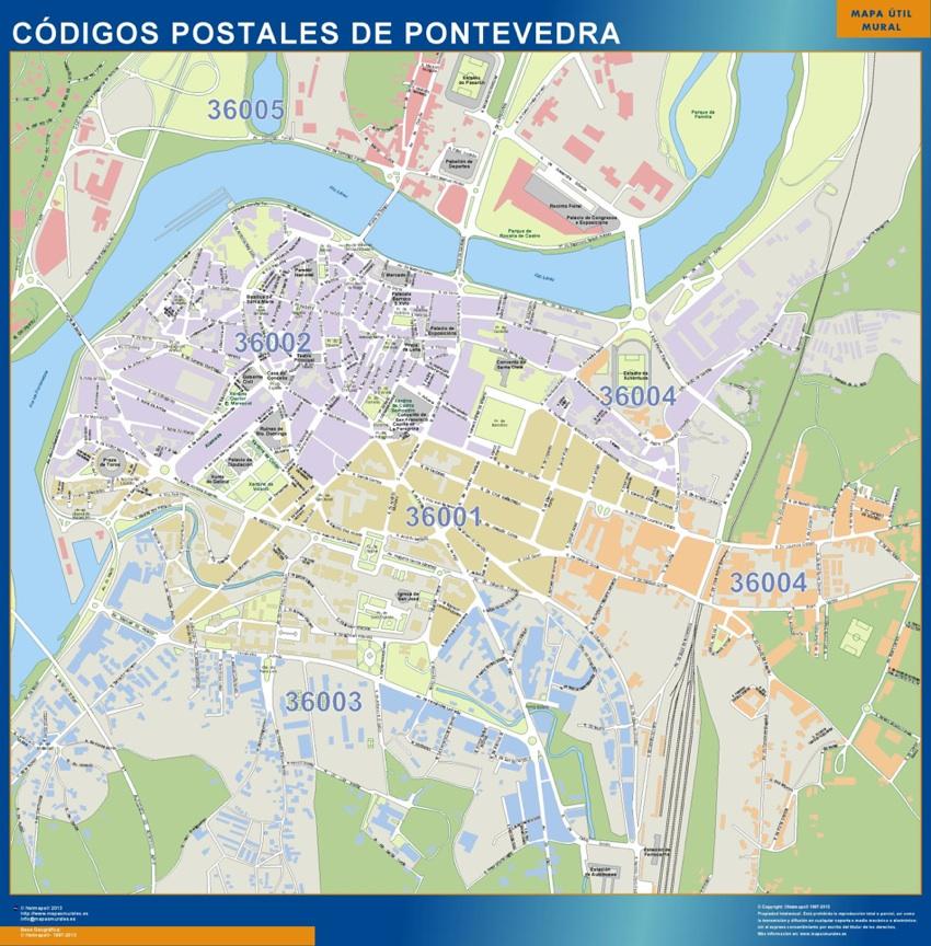 Pontevedra códigos postales plastificado gigante