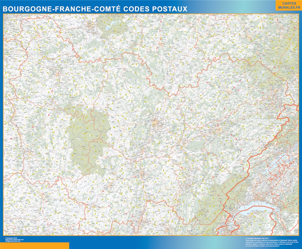 Región Bourgogne Franche Comte codigos postales plastificado gigante