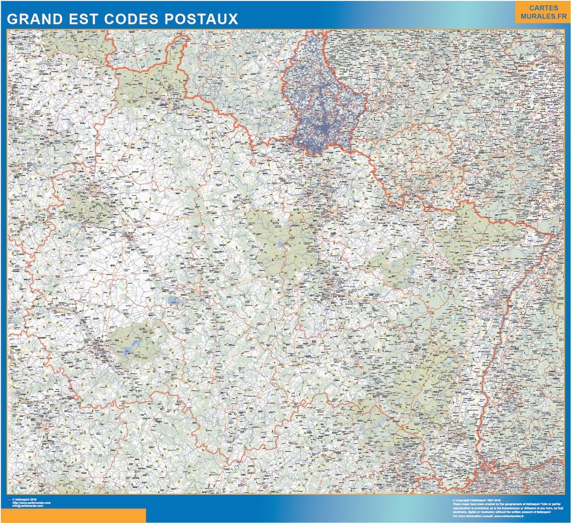 Región Grand Est codigos postales plastificado gigante