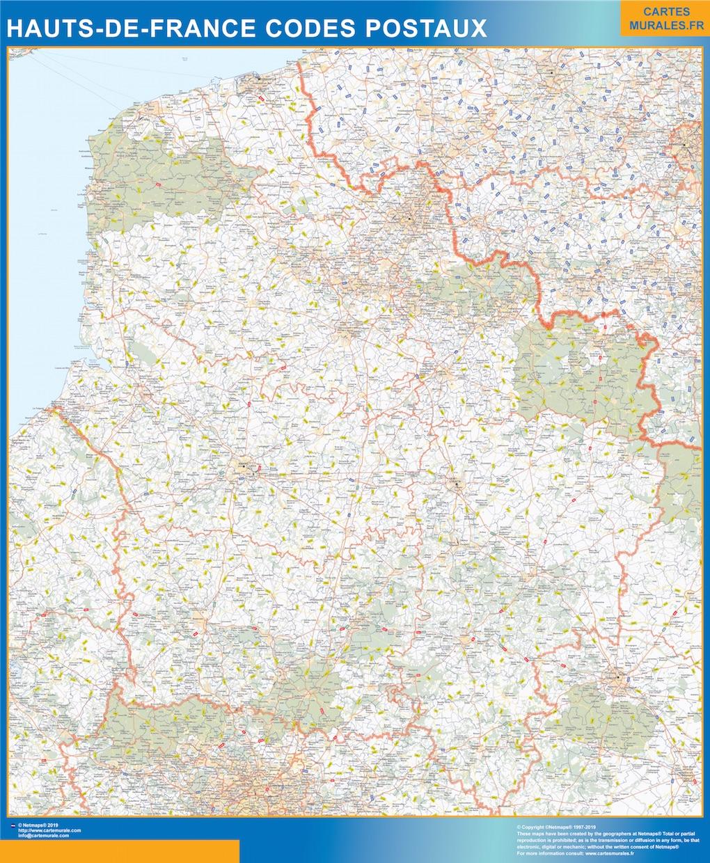 Región Hauts de France codigos postales plastificado gigante