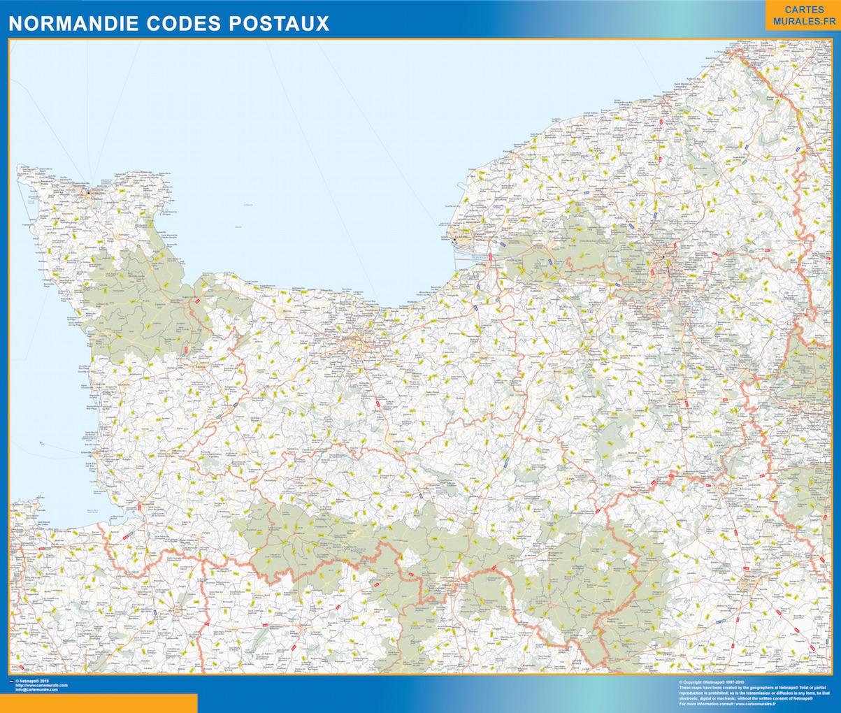 Región Normandie codigos postales plastificado gigante