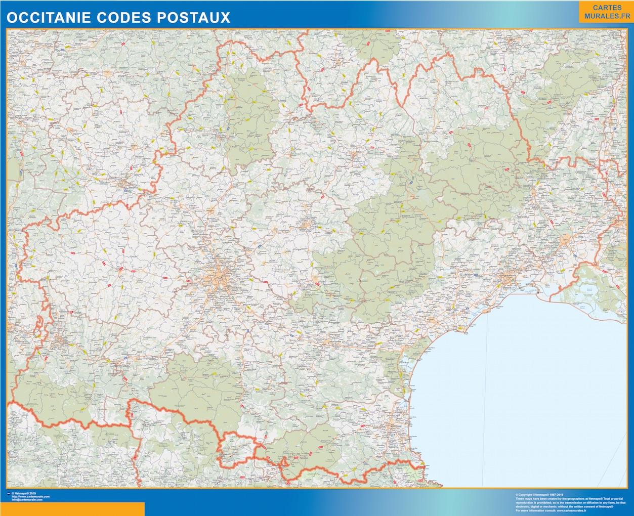 Región OccitanIe codigos postales plastificado gigante
