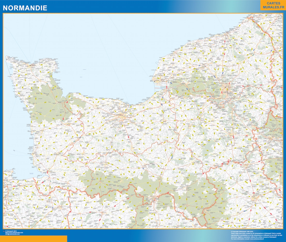 Region Normandie plastificado gigante