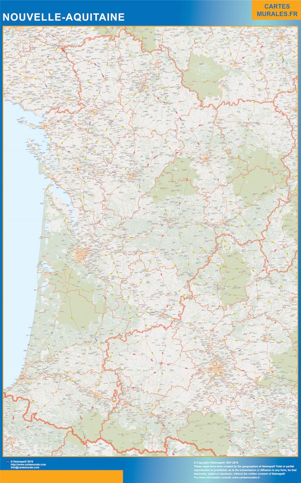 Region Nouvelle Aquitaine plastificado gigante