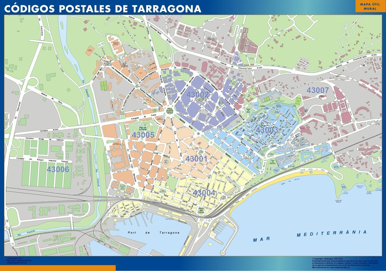 Tarragona códigos postales plastificado gigante