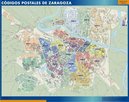 Zaragoza códigos postales plastificado gigante