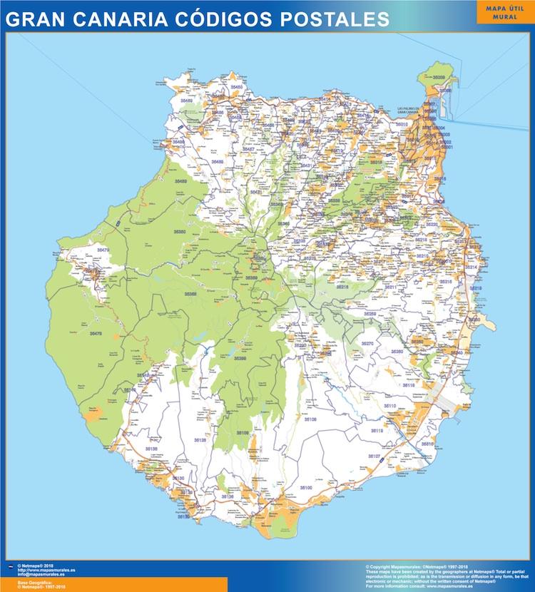 isla Gran Canaria códigos postales plastificado gigante
